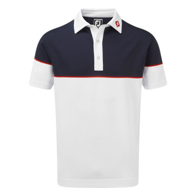 d94f0b580 FootJoy Mens Colour Block Stretch Pique Polo Shirt in White , Navy and Red  #90093