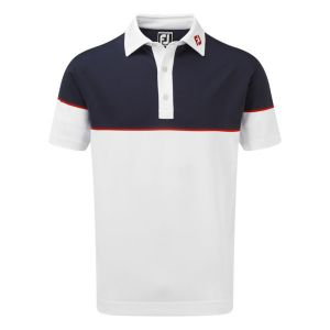 FootJoy Mens  Colour Block Stretch Pique Polo Shirt in White , Navy and Red #90093 category image