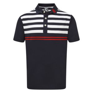 FootJoy Mens Stretch Pique with Graphic Stripes Polo Shirt in Navy , Red and White #90021 category image