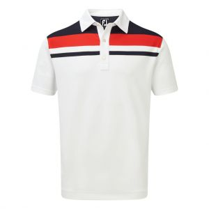 FootJoy Mens Stretch Pique Colour Block Yoke Polo Shirt in White, Navy and Red #90025 category image