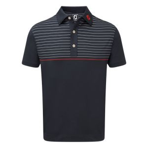 FootJoy Mens Stretch Lisle Engineered Pinstripe Polo Shirt in Navy, Red and White #90089 category image