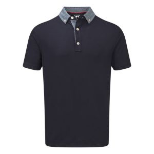 FootJoy Mens  Stretch Pique with Woven Buttondown Collar Polo Shirt in Navy #90097 category image