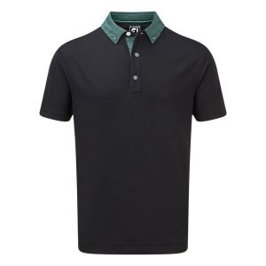 FootJoy Mens  Stretch Pique with Woven Buttondown Collar Polo Shirt in Black and Aqua #90098 category image