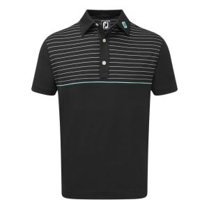 FootJoy Mens Stretch Lisle Engineered Pinstripe Polo Shirt in  Black, White and Aqua #90090 category image