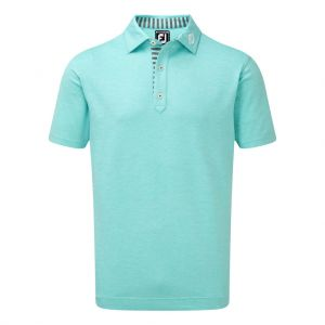 FootJpy Mens  Stretch Heather Pique with Stripe Trim Polo Shirt in Aqua #90049 category image