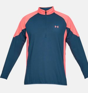 Under Armour Mens Crestable Storm Midlayer 1/2 Zip In Navy and Coral #1327016 category image