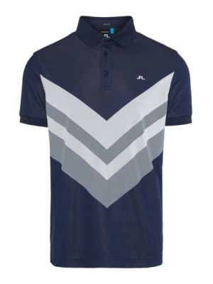 J.Lindeberg M Ace Regular Fit Jaquard Polo Shirt in Navy and Grey #92MG651866512 category image