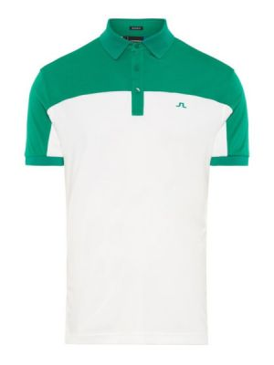 J.LINDEBERG M MATEO REGULAR FIT COOLMAX POLO SHIRT IN GOLF GREEN AND WHITE #92MG539076508 category image