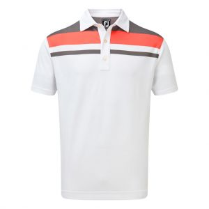 FootJoy Men's Stretch Pique Colour Block Yoke Polo Shirt in White, Grey and Watermelon #90027 category image