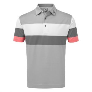 FootJoy Mens Engineered Birdseye Pique Polo Shirt in Granite, White and Watermelon # 90033 category image