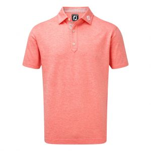 FootJoy Mens Stretch Heather Pique With Stripe Trim Polo Shirt in Watermelon # 90051 category image