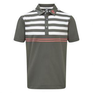 FootJoy Mens Stretch Pique with Graphic Stripes Polo Shirt in Grey, White and Watermelon # 90023 category image
