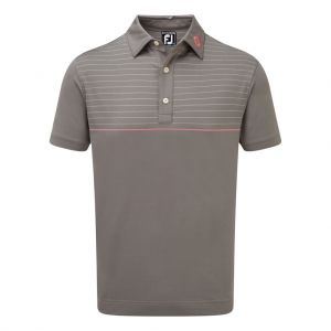 FootJoy Mens Stretch Lisle Engineered Pinstripe Polo Shirt in Granite, Heather and Watermelon # 90091 category image