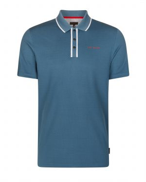 Ted Baker Bunka solid Polo Shirt in Mid Blue #160440 category image