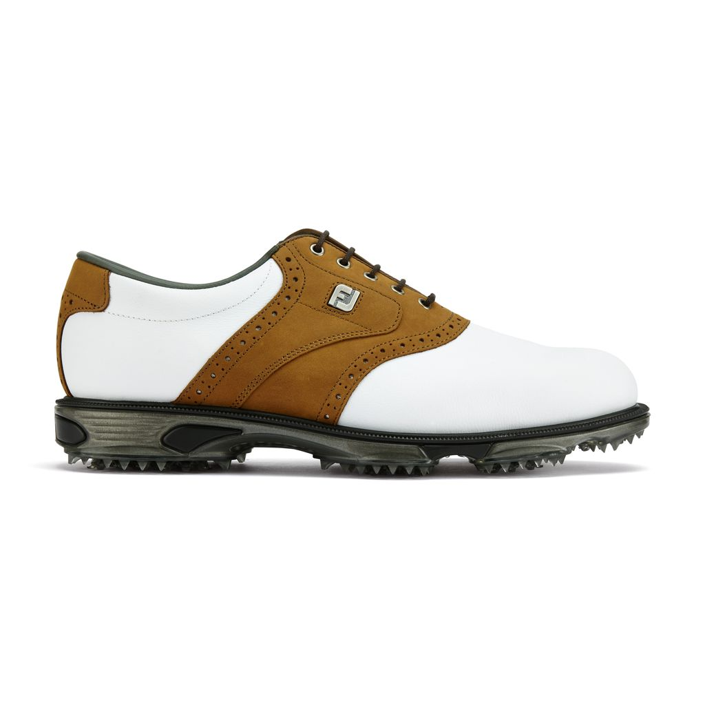 FootJoy DryJoys Tour Mens Golf Shoes In White & Taupe