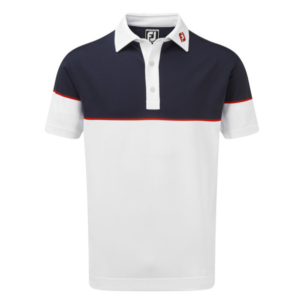 FootJoy Mens  Colour Block Stretch Pique Polo Shirt in White , Navy and Red #90093