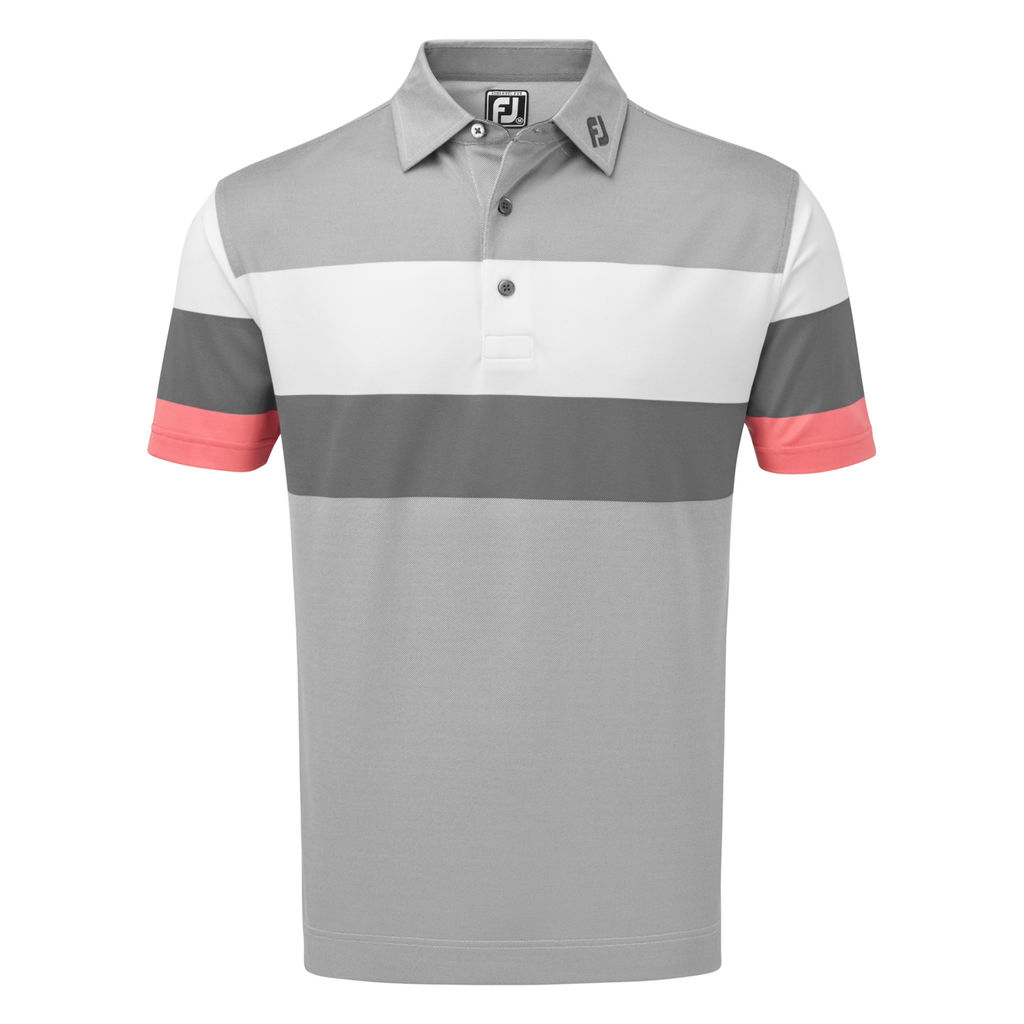FootJoy Mens Engineered Birdseye Pique Polo Shirt in Granite, White and Watermelon # 90033