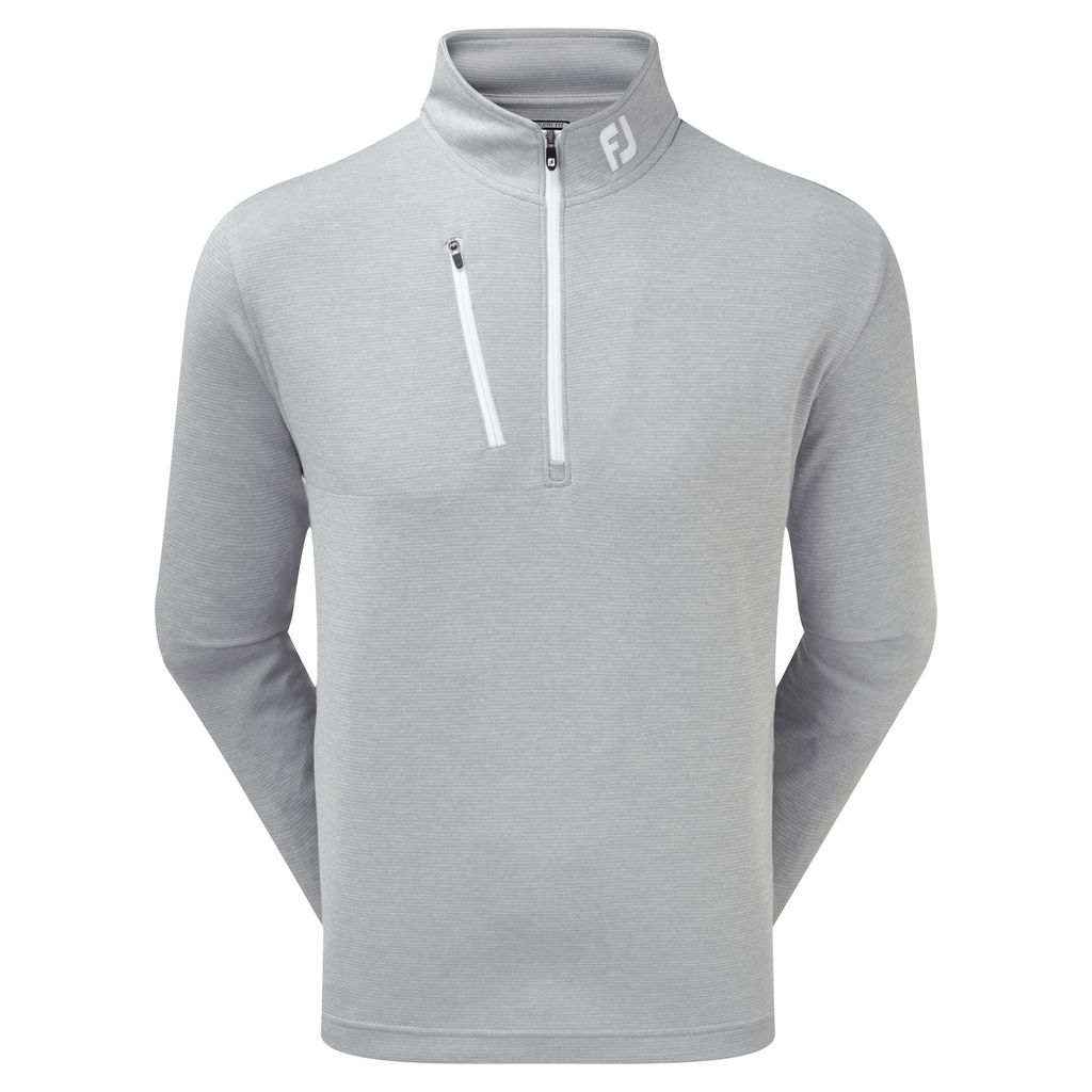 FootJoy Mens Heather Pinstripe Chill-Out Pullover in Grey with White #90157